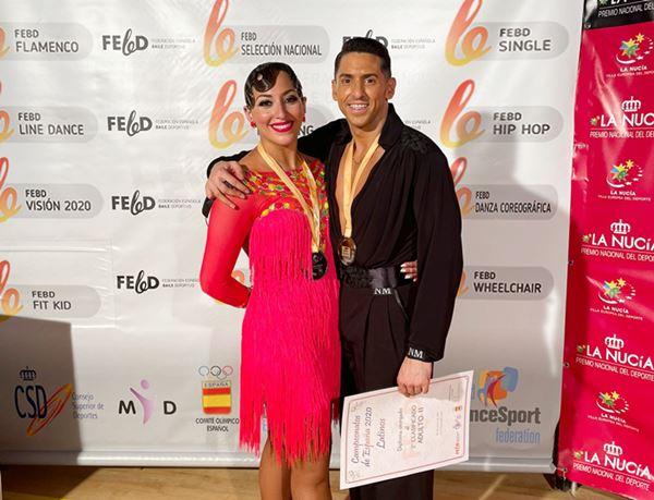Laura Anton y alberto soto subcampeones de España de bailes latinos 2020